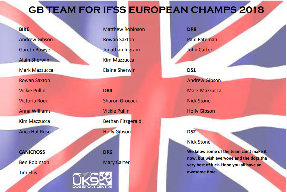 GB TEAM FOR IFSS EUROPEAN CHAMPS 2018